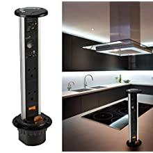 Knightsbridge SK005 A 2G Pop Up Socket with Built-In 2.4 A Bluetooth Speaker and USB Charger, IP54, 13 A