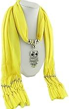 QHGstore Bufanda clásica del buho de la mujer pendiente de la joyería Bufanda del collar de la bufanda bufanda larga franjada amarillo