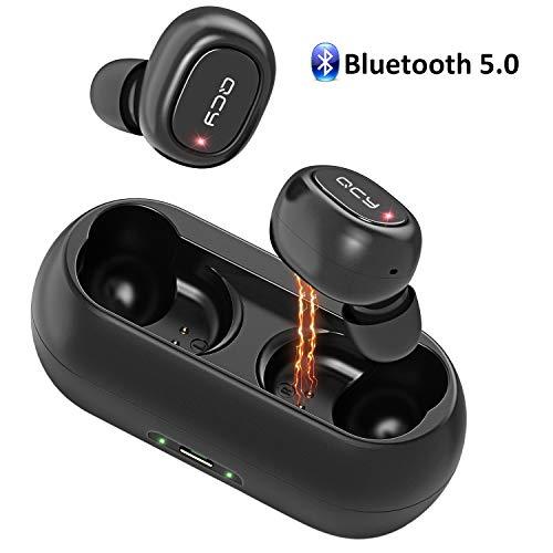QCY Auriculares Bluetooth,  Doble Auriculares Inalámbricos Estéreo In- Ear Bluetooth 5.0 con Micrófono,  16H Tiempo de Reproducción Prueba de Sudor Mini Cascos Audifonos con Caja de Carga para Deportes