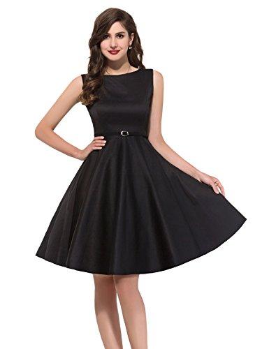 elegant schwarz vintage abendkleid knielang retro sommerkleid 50er jahre partykleider Größe M CL6086-13 -