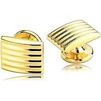 Uomo Gemelli Acciaio Inossidabile Oro Strisce Rettangolo Gemelli per Uomini per (Oro A Strisce Cravatta)