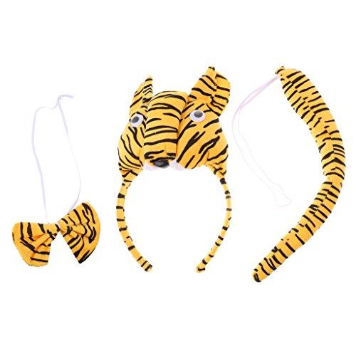 Homyl Tiger kostüm Set - Tiger Kopf Stirnband, Fliege, Schwanz - Tierkostüm für Kinder Mädchen Junge (Kostüm Für Tiger Mädchen)