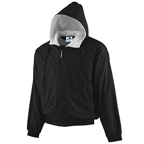 Augusta Sportswear BOYS' HOODED TAFFETA JACKET/FLEECE LINED M Black Fleece-lined Hooded Nylon Jacket