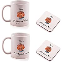 Ukgiftbox - Set regalo di 2 sottobicchieri e 2 tazze per lui e per lei, anniversario nozze di diamante