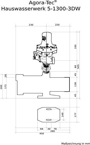 Agora-Tec® AT-Hauswasserwerk-5-1300-3DW, 5 stufige Kreiselpumpe mit max: 5,6 bar und max: 5400l/h und Druckschalter mit Trockenlaufschutz -