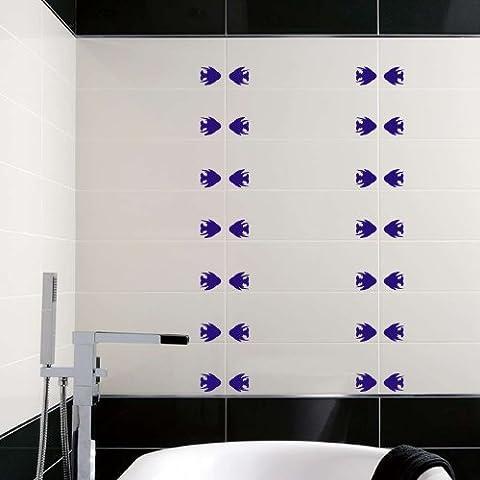 22Pesce, misura 5cm di larghezza scelta 18colori assortiti in magazzino piastrelle bagno pesce adesivi, piastrelle adesivo, doccia, Pesce in vinile ThatVinylPlace Sapphire Blue - Sapphire Pesce