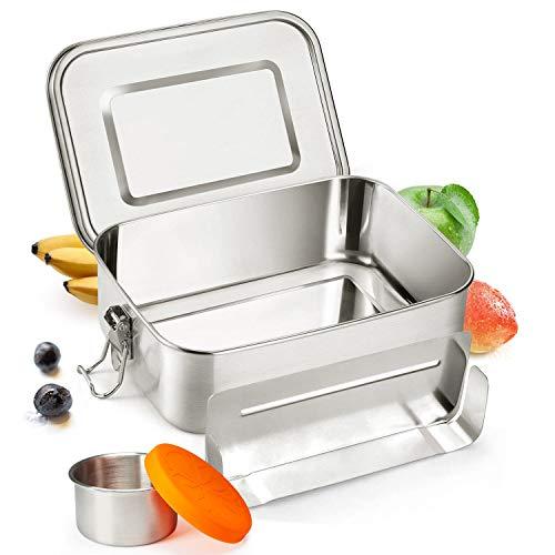 SPECOOL 1200ml Premium Edelstahl Brotdose Lunchbox Bento Box mit Box Silikondeckeln- Auslaufsicher Plastikfrei BPA-frei Brotdose für Kinder und Erwachsene mit Abnehmbarer Trennsteg