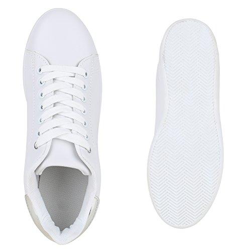 581b75405090c3 ... Damen Sneakers Sportschuhe Schnürer Lack Lederoptik Schuhe Weiss Silber