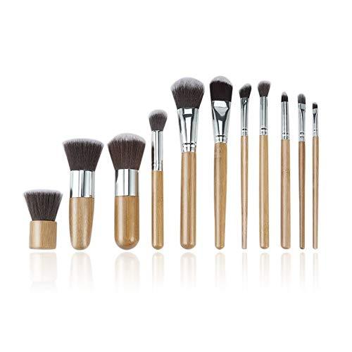 Pudincoco 11pcs Professionnels en Bambou Naturel Maquillage brosses Base mélange Outil de Pinceau Ensemble Femmes beauté du Visage brosses (en Bois)