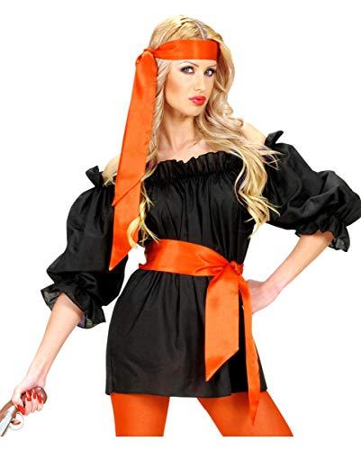 Horror-Shop Rot Piratenbluse im Steampunk Look - Kostümzubehör XL (Match Cowgirl Kostüm)