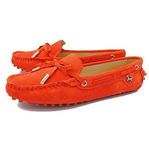 Minitoo Womens Casual confortevole in pelle scamosciata nodo barca Loafer Scarpe Flats Orange Red