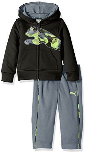 PUMA Baby Boys' 2 Piece Tech Fleece Hoodie Wrapped Cat and Pant Set, Puma Black, 24 Months (Puma Hoodie Baby)
