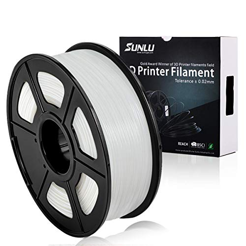 SUNLU PLA Plus Bianco, filamento PLA Plus 1,75 mm, Precisione dimensionale con odore basso +/- 0,02 mm, Filamento per stampa 3D, bobina 2,2 LBS (1 KG) (more like transparent)