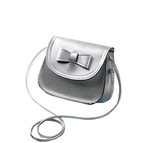 Transer  Women Shoulder Bag Popular Girls Hand Bag Ladies PU Leather Handbag, Damen Schultertasche Mehrfarbig grün 17cm(L)*16(H)*7cm(W), grau (Mehrfarbig) - CQQ60901349 silber