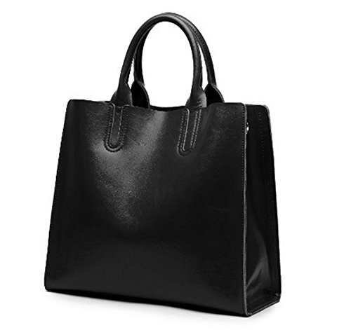 Xinmaoyuan Damen Lederhandtaschen Big Bag Einfache Handtasche Schulter Messenger Vieh Tragetasche, Schwarz Schwarz