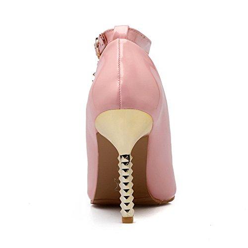 VogueZone009 Donna Fibbia Scarpe A Punta Punta Chiusa Tacco A Spillo Pelle Di Maiale Puro Ballerine Rosa
