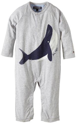 Tommy Hilfiger Baby - Jungen Strampler Whale Baby Boy Coverall L/S / EZ57119769, Gr. 68, Grau (004 Grey Heather)