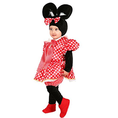 Vestito costume maschera di carnevale baby - minnie topoletta - taglia 3/4 anni - 78 cm