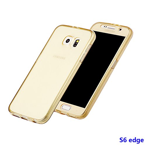 xhorizon MW8 Schlank Schlagfest 360 Grad Vorne und Rückseite Shockproof Schutzhülle TPU Transparent Case  Cover für Samsung Samsung Galaxy S6 Edge G9250 Golden