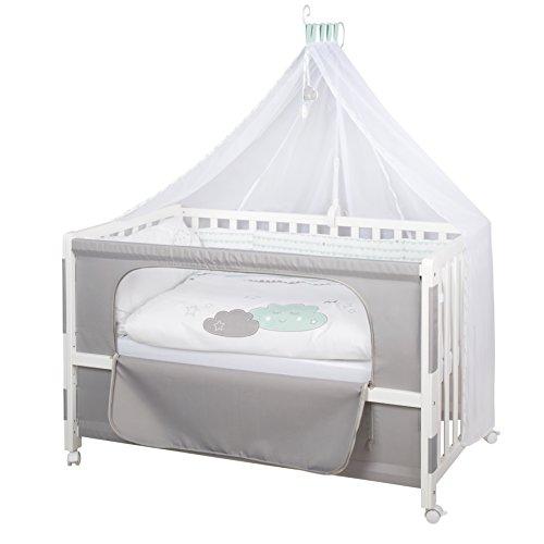 roba Beistellbett, Roombed, Babybett 60x120 cm 'Happy Cloud', Anstellbett zum Elternbett mit kompletter Ausstattung