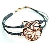 Infinity und Lebensbaum - Freundschafts Wachsarmband rosé vergoldet, Armbandfarbe zum aussuchen, 16-17cm, handmade