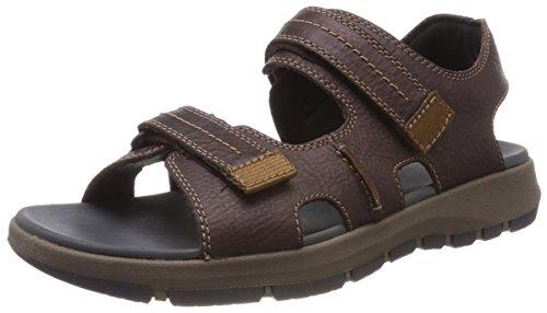 Clarks brixby shore, sandali con cinturino alla caviglia uomo, marrone (dark brown lea), 44.5 eu