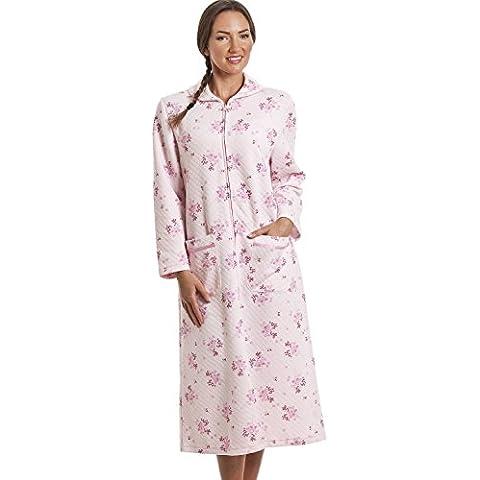Bata con forro acolchado y cremallera - Estampado floral rosa
