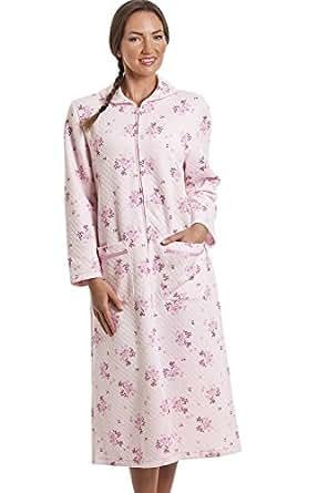 robe de chambre matelass e fermeture clair motif floral rose 40 42 camille. Black Bedroom Furniture Sets. Home Design Ideas