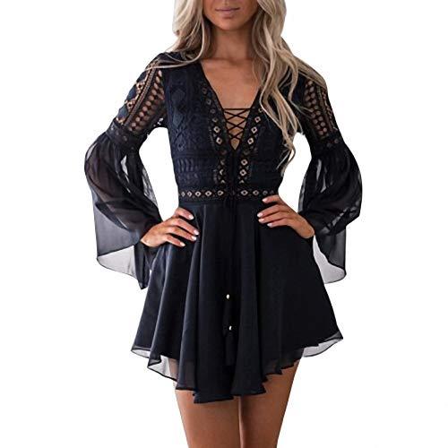 Chiffon Sheer Blush (Aushöhlen weißes Kleid Sexy Frauen Mini Chiffon Kleid Semi Sheer Plunge V-Ausschnitt Langarm Häkelspitze Kleid Black-in Kleider von Frauen)