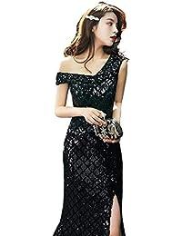 e23c1dc6c98d Abito da Sera da Donna Senza Spalline Sexy Elegante con Paillettes Slim  Fishtail Abito Nero Lungo