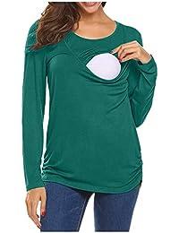 HOUMENGO Premamá Invierno Leggins Abrigos Mujer Mamá Embarazada Lactancia, Camiseta con Sólido, Regalo Durante el Embarazo - Manga Larga