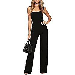 Femme Élégant sans Manches Couleur Unie Slim Longue Pantalons Combinaison Noir M