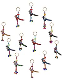 Royal Arts & Crafts Handmade Handicraft Fabric Decorative Rajasthani Peacock Designed Key Chain 4 Piece Set Multi-Colored