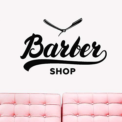 en Vinyl Wandtattoo Barbershop Wort Friseursalon Rasiermesser Aufkleber Abnehmbare Einfache Dekoration Poster rot 87x57 cm ()