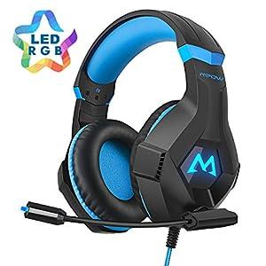 Mpow EG9 Gaming Kopfhörer PS4, Surround-Sound, 40 mm, mit RGB-Mikrofon, Kabel 2,2 m, Kopfband für Erwachsene und Kinder, für PS4, PC, Xbox One, für Nintendo Switch, iPad, Mobiltelefone