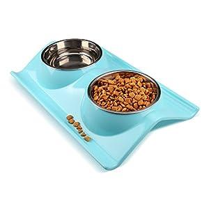 Gamelle double en acier inoxydable pour chien et chat Miaosun - Design anti-dérapant et anti-déversant - Nourriture pour animaux de compagnie et approvisionnement d'eau