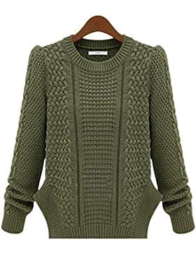 Yisaesa Suéter de Punto de Manga Larga para Mujer Suéter de Cuello Grueso con Abertura Lateral (Color : Verde,...