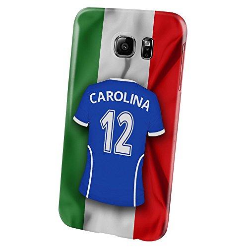 PhotoFancy Samsung Galaxy S6 Handyhülle Premium – Personalisierte Hülle mit Namen Carolina – Case mit Design Fußball-Trikot Italien zur WM in Russland 2018