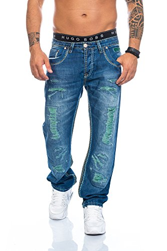 SHIKOBA Herren Jeans Hose Denim Destroyed Look Vintage Blau Straight Cut dicke Nähte SH-004 W34 L34 (Klassischen Look-jeans-rock)