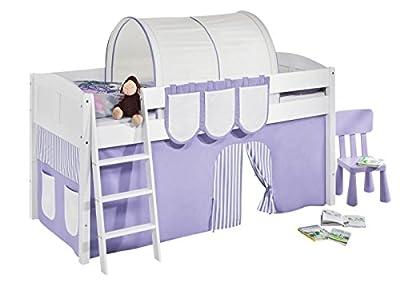 """Cama semi alta """"IDA BLANCA"""" con cortinas convertible en cama baja - Lila / Beige, 4106 Listones"""