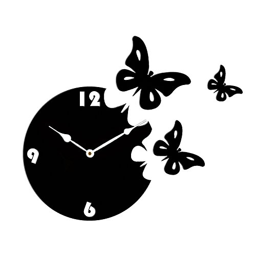 Sehaz Artworks 'Moon Butterfly Asymetric' Wood Wall Clock (27 cm x 27...