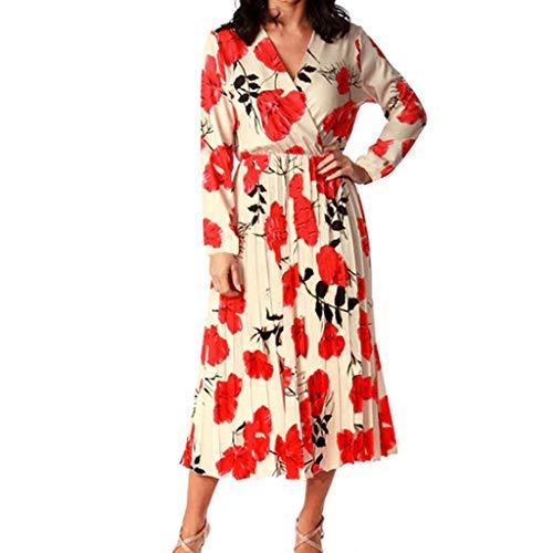 Frauen Hohe Taille Kleid Etuikleid Damen Mode Blumenmuster V-Ausschnitt Langarm Midi Kleid