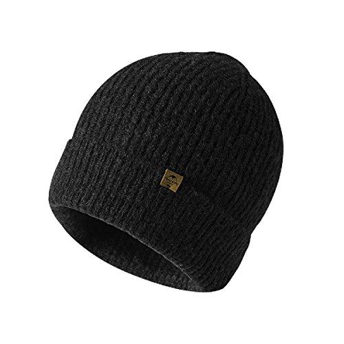 Imagen de triwonder sombrero de invierno beanie knit slouch hat gorro skull hat sombrero de lana para hombres y mujeres negro  flanging