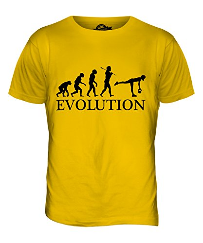 CandyMix Kugelhantel Evolution Des Menschen Herren T Shirt Dunkelgelb