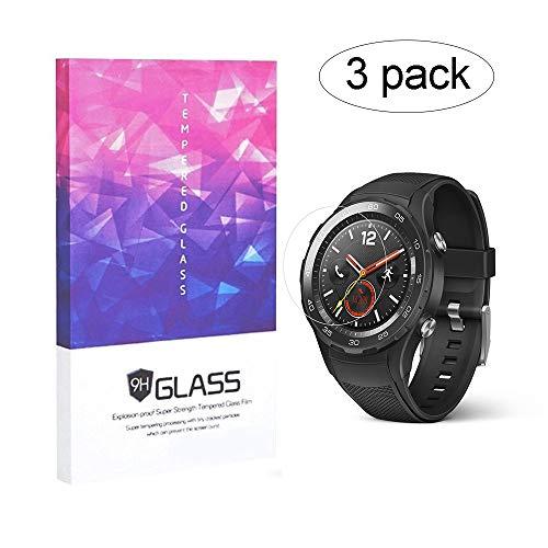 BECEMURU HuaWei Watch 2 Schutzfolie Displayschutzfolie 9H Härtegrad Berichterstattung Displayschutzfolie Gehärtetes Glas für HuaWei Watch 2 Smartwatch (3 Stück)