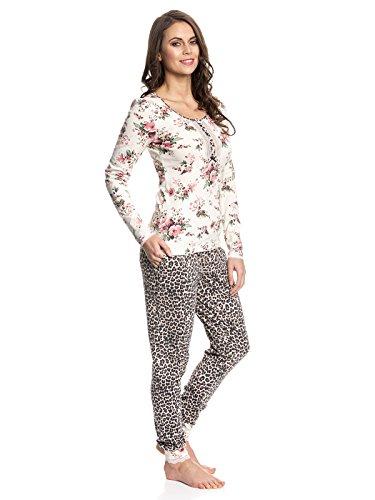 Vive Maria Damen Zweiteiliger Schlafanzug Wild Rose Pyjama Mehrfarbig (Creme Leo Allover)
