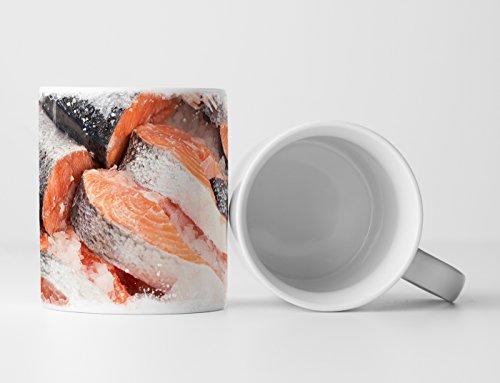 Eau Zone Fotokunst Tasse Geschenk Roher Fisch - Lachs auf Eis