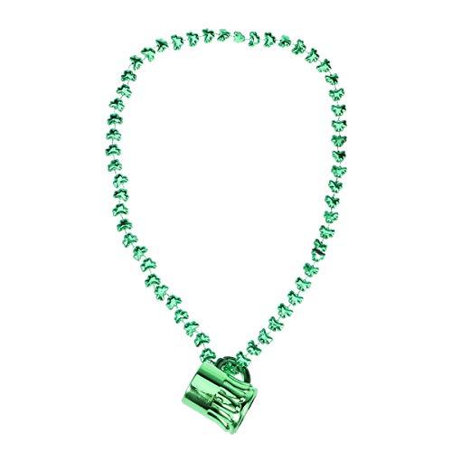 ick's Day Becher Perlen Halskette Kunststoff Schnapsglas Anhänger Shamrock Halsketten Kostüm Zubehör Irish Party Schmuck (Grün) ()