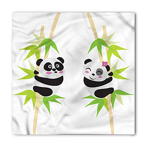 VVIANS Panda Bandana, Couple of Bears in Love, Unisex Head and Neck Tie M100*100CM