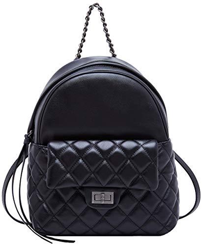 BOYATU Echtes Leder Rucksack für Frauen Reise Rucksack Schultasche Daypack (Black-02)
